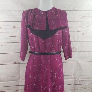 Vintage Sears Hawaii rose printed dress fuschia